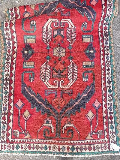 A modern Hamadan runner, red ground, approx. 275 x