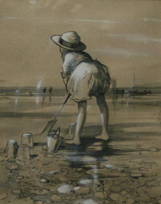 FREDERICK TAYLOR (British, 1875-1963) BEACH SCENE
