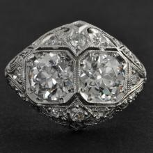 Art Deco Twin Old European Cut Diamond Ring