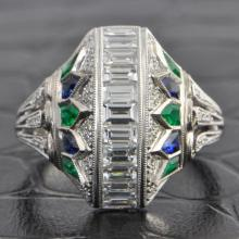 Emerald and Sapphire Art Deco Inspired Dome Ring
