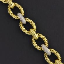 Charles Krypell 18k Two Tone Gold and Diamond Link Bracelet