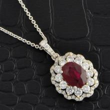 Ruby and Double Diamond Halo Pendant Necklace