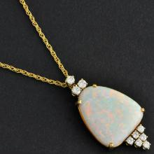 Dreamy Opal and Diamond Pendant