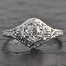 Vintage Inspired 0.55 Carat Old Mine Cut Diamond Ring