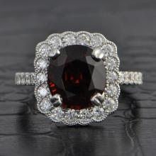 Red Spinel and Diamond Vintage Inspired Ring