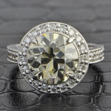 GIA 4.06 Carat Old European Cut Diamond Ring