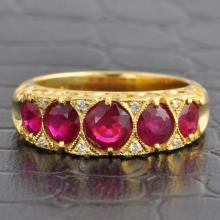 Vintage Inspired Ruby and Diamond Band