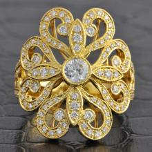 18k Yellow Gold Ornate Diamond Ring