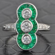 Triple Diamond Ring with Emeralds