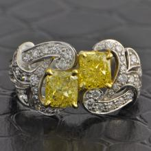 GIA Twin Fancy Intense Yellow Diamond Ring