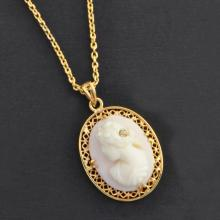 Victorian Shell Cameo and Diamond Pendant Necklace