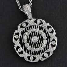 Ornate Vintage Inspired Diamond Pendant Necklace