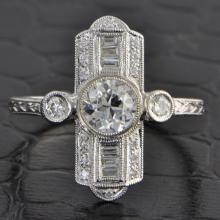 Art Deco Inspired Old European Cut Diamond Ring