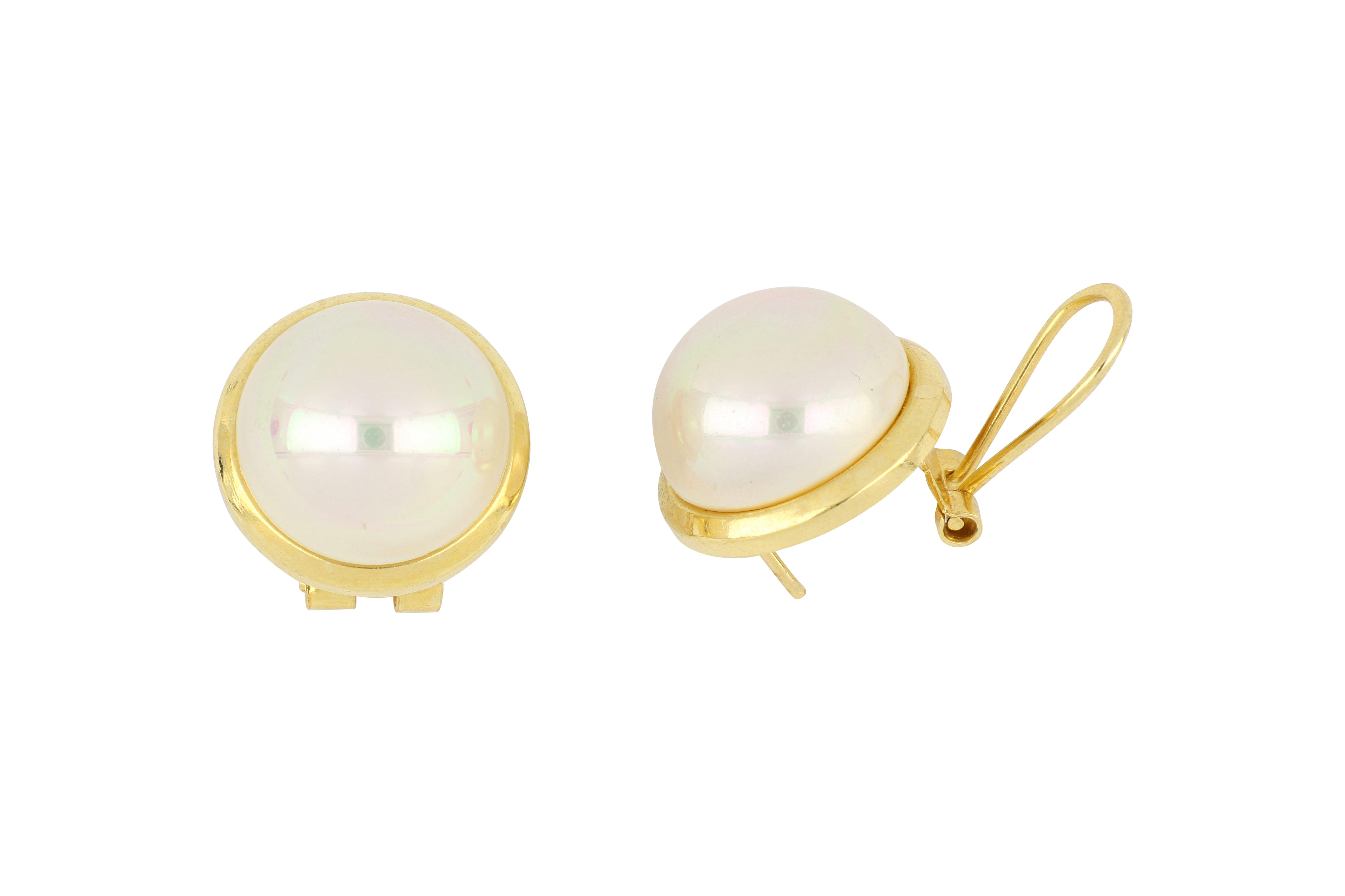 Pair of 18ct gold cultured mabe pearl ear studs