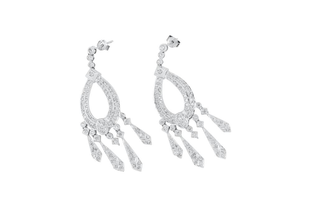 Pair of 14ct white gold chandelier style diamond earrings