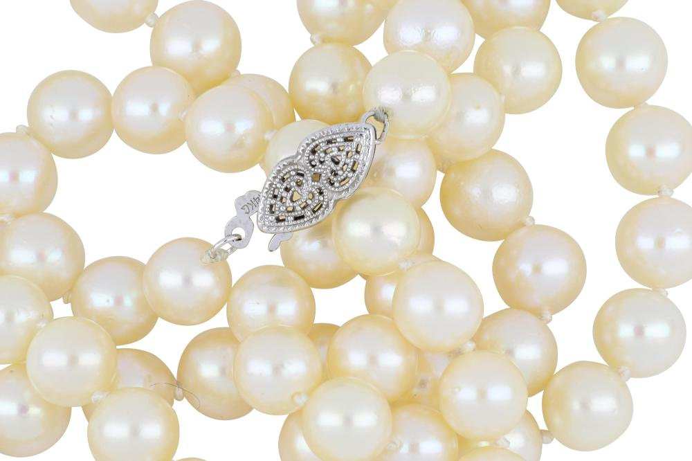 Lustrous string of cultured pearls