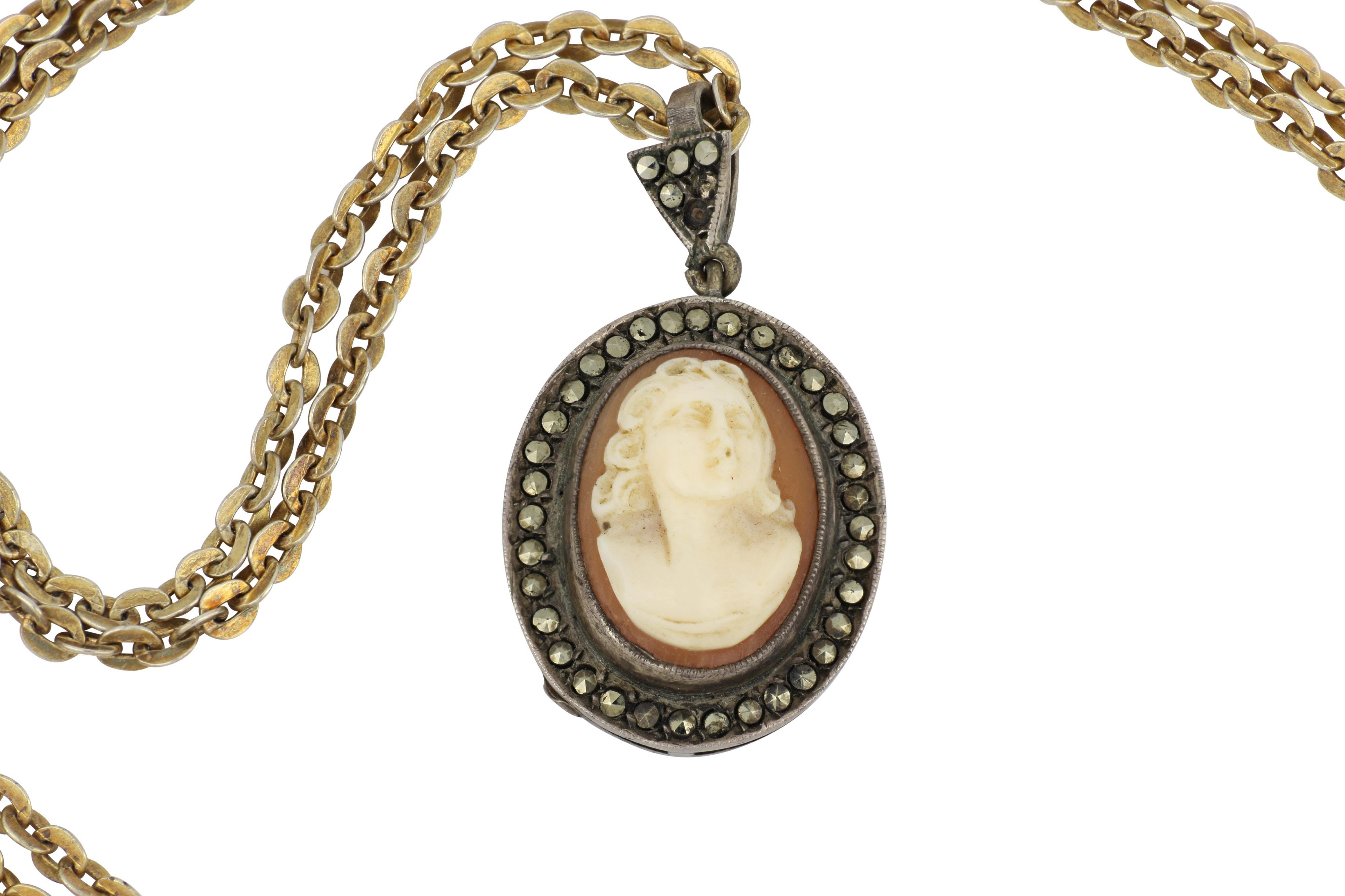 Antique cameo pendant on chain
