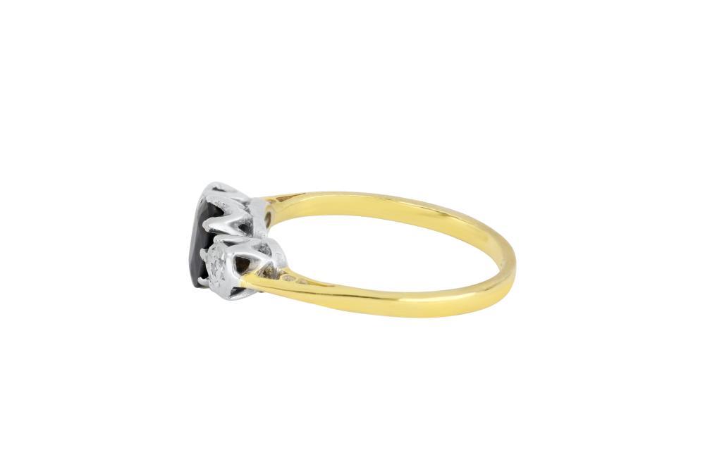 Vintage 18ct gold sapphire & diamond bridge ring