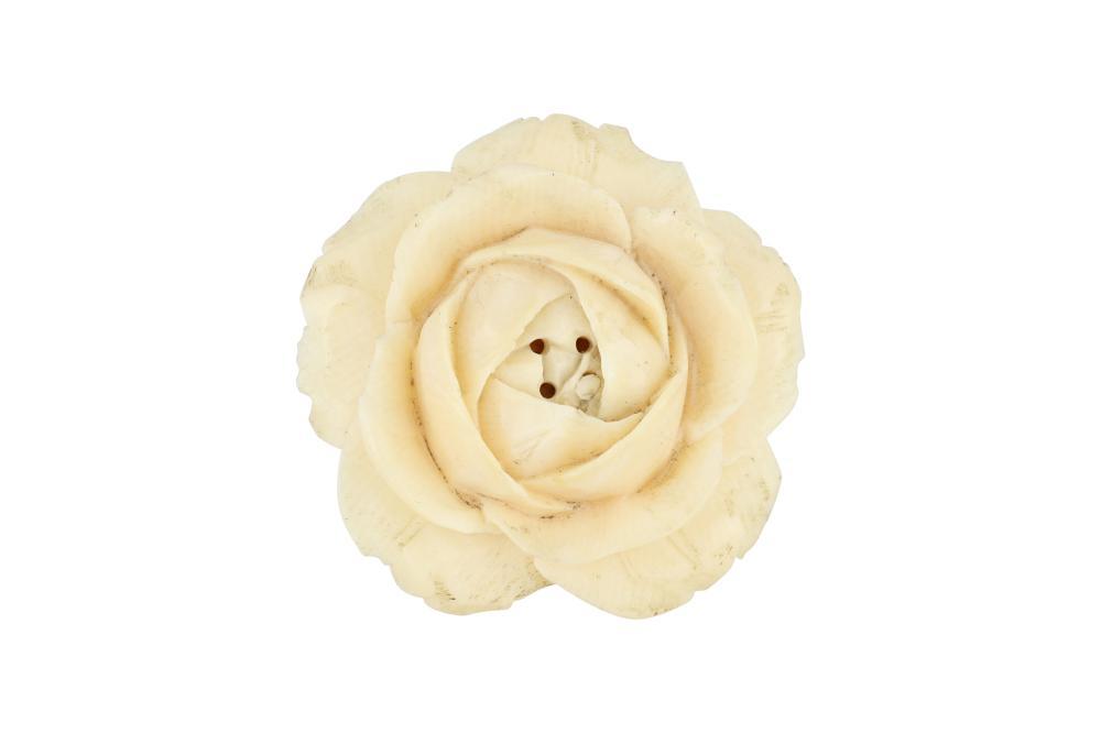 Carved ivory flower design netsuke