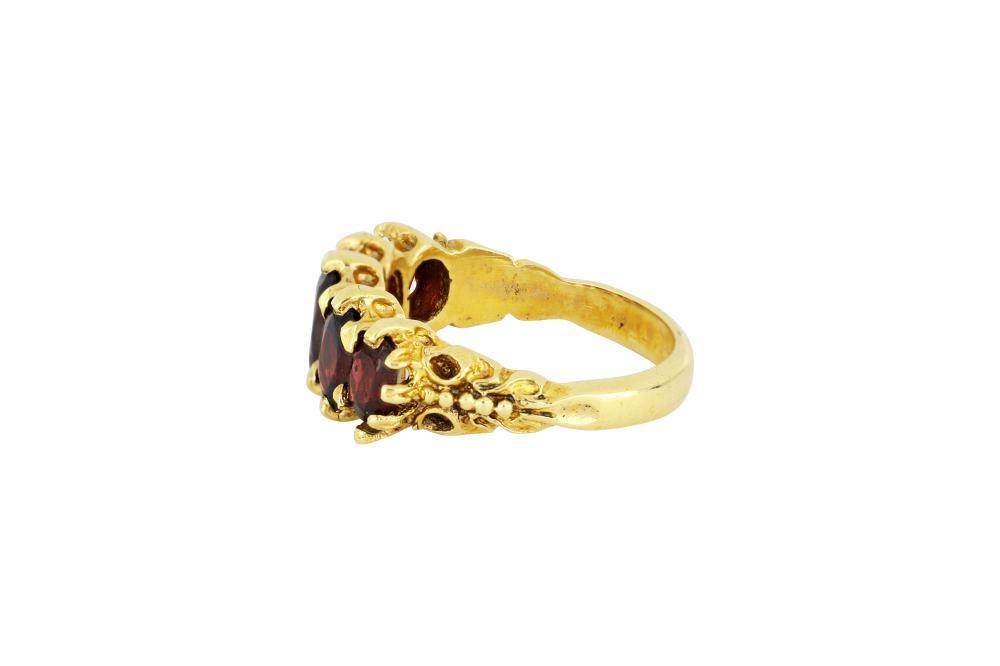 9ct gold 5 stone garnet ring
