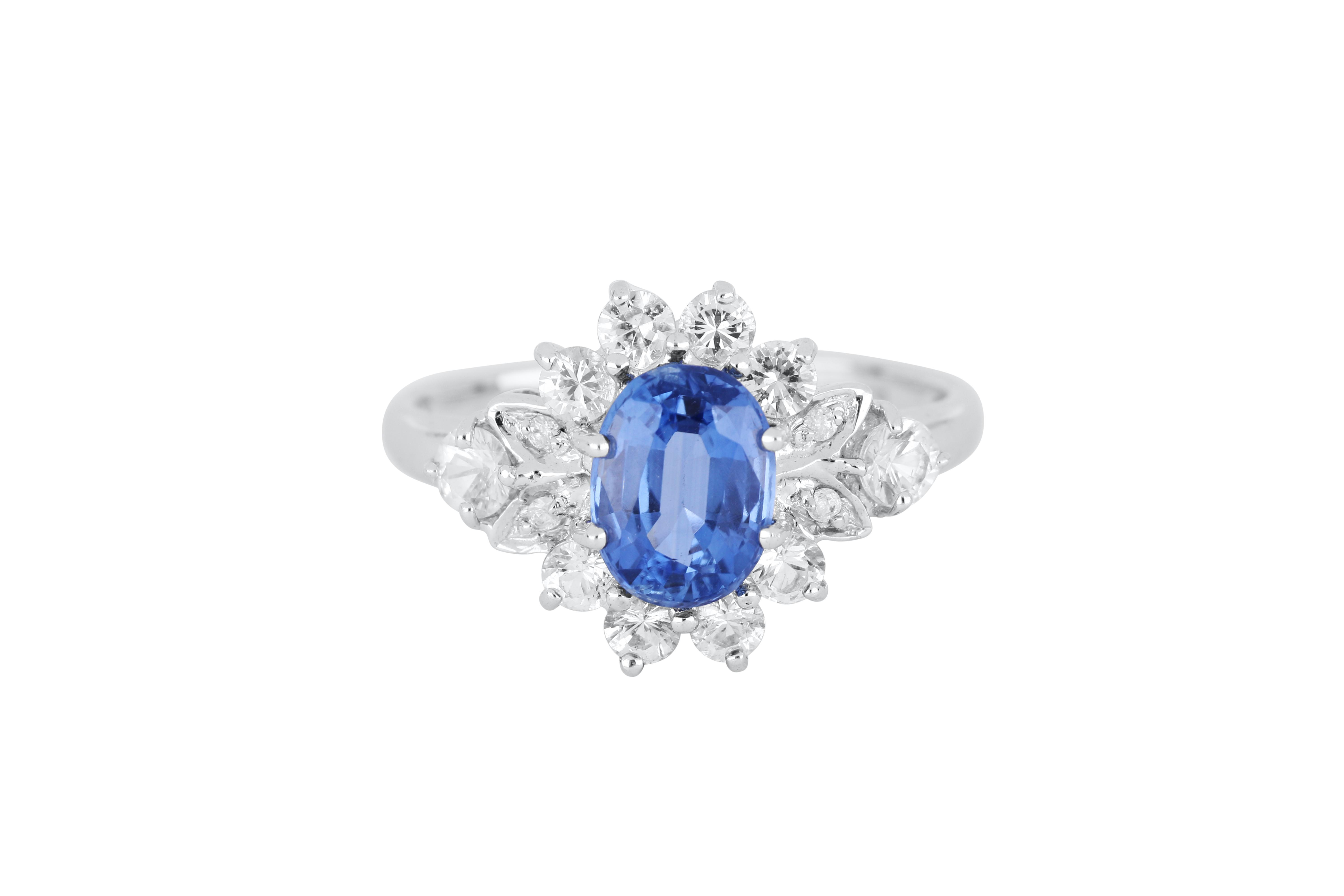 9ct white gold blue & white sapphire cluster ring