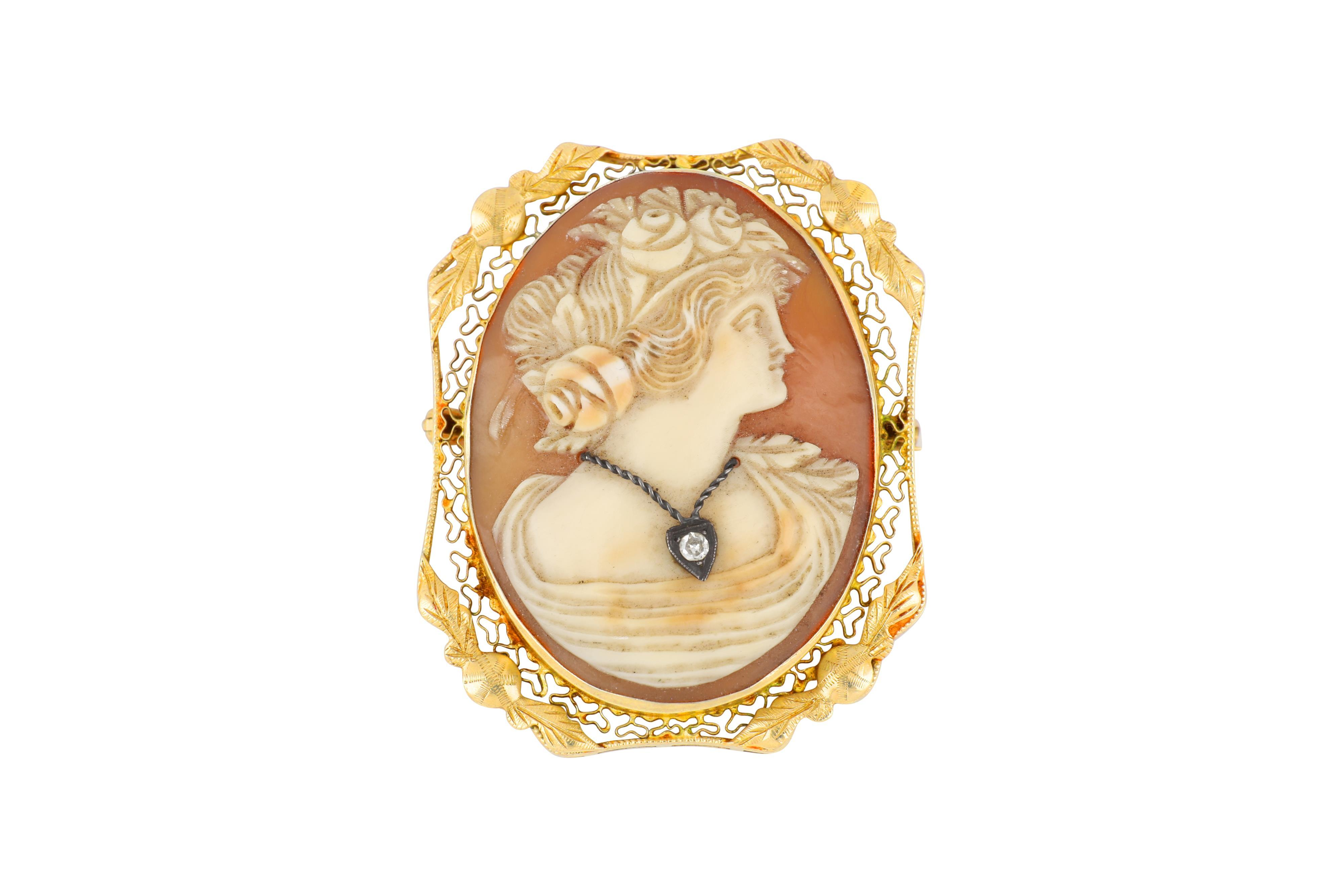 Antique 14ct white gold cameo brooch set with diamond