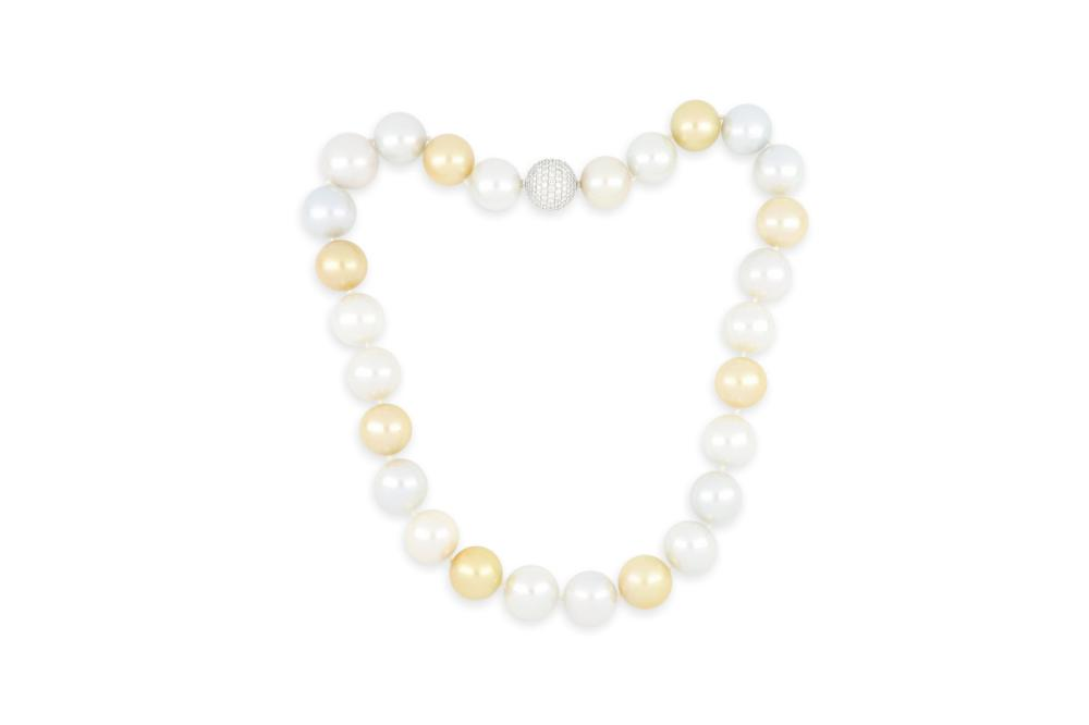 String of large (17-19mm) South Sea pearls with 18k white gold diamond encrusted clasp