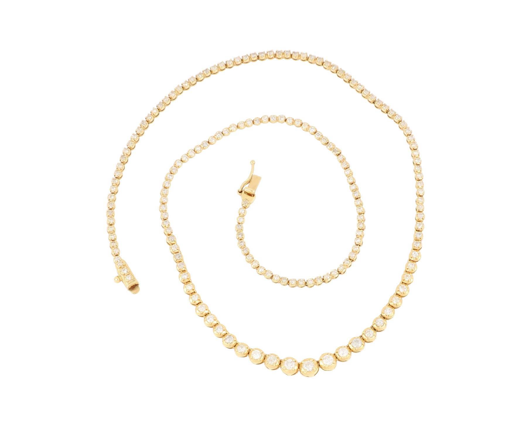 18ct gold tennis type necklace with 3.00 cts diamonds, Valuation $11,387.00