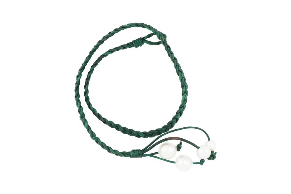 Green leather & South Sea pearl necklace