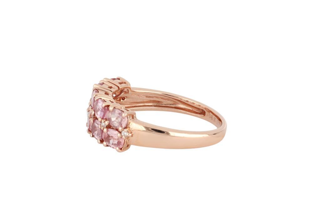14ct rose gold padparadscha sapphire & diamond ring