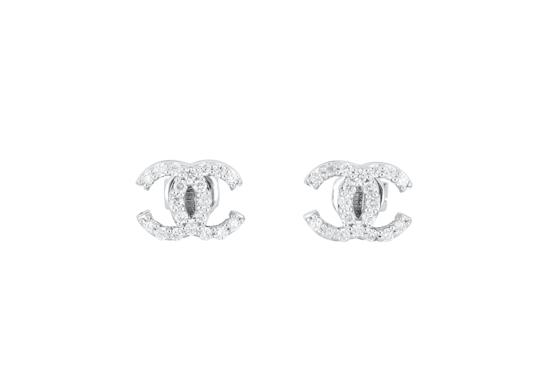 Pair of 18ct white gold & diamond CC ear studs