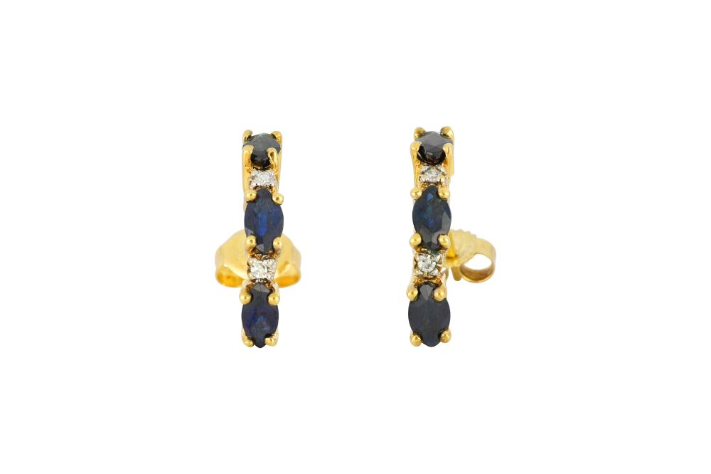 Pair of 14ct gold sapphire & diamond earrings