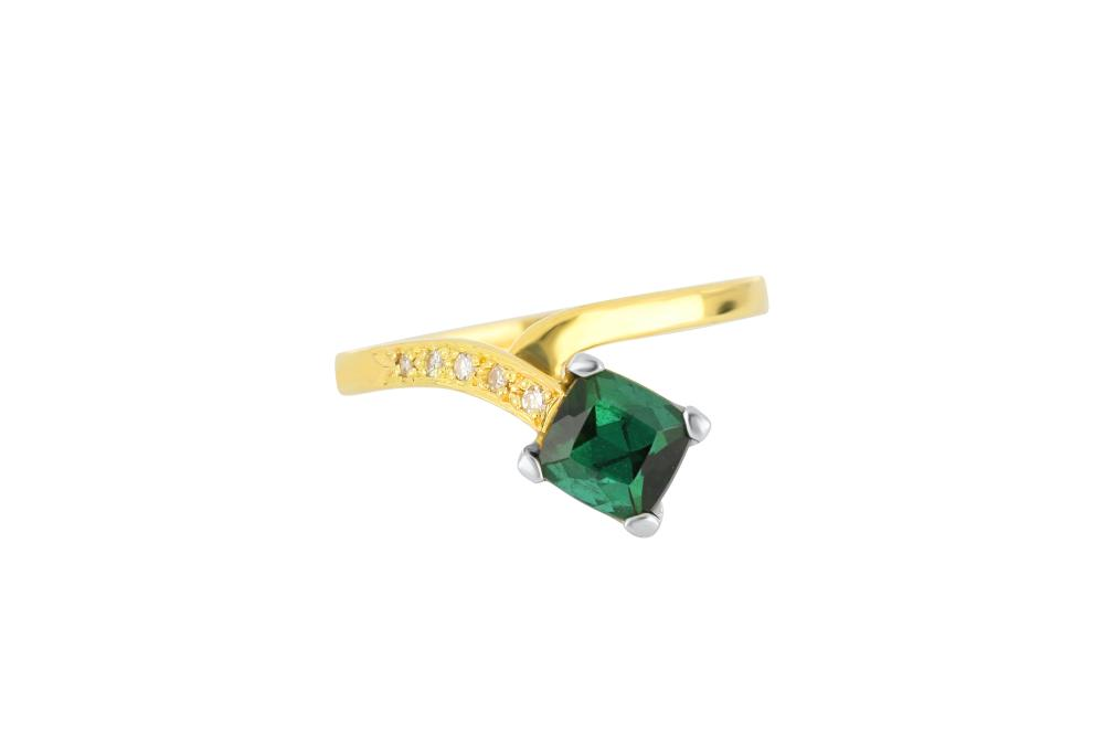 18ct gold green tourmaline & diamond ring