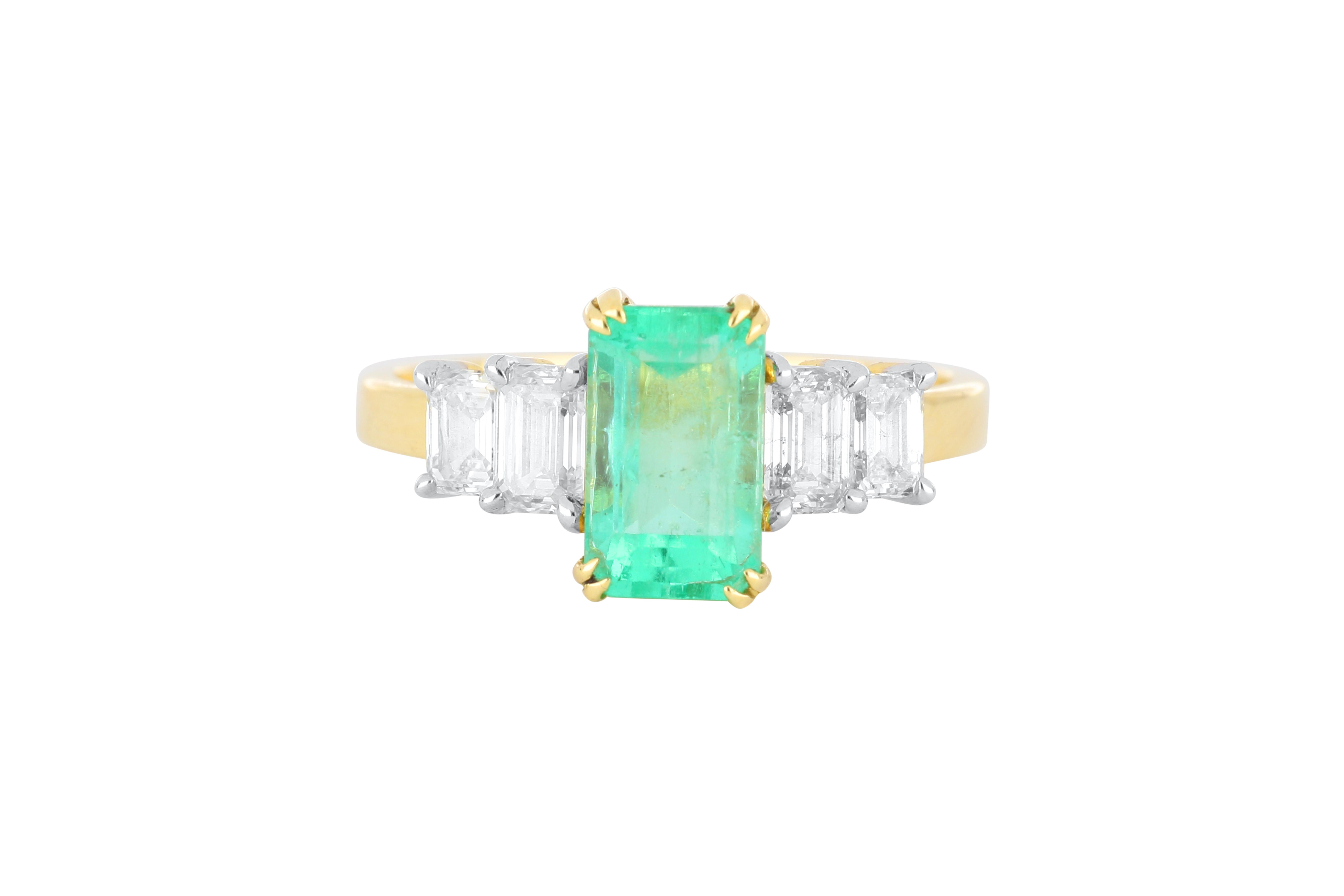 New 18ct gold emerald & diamond ring