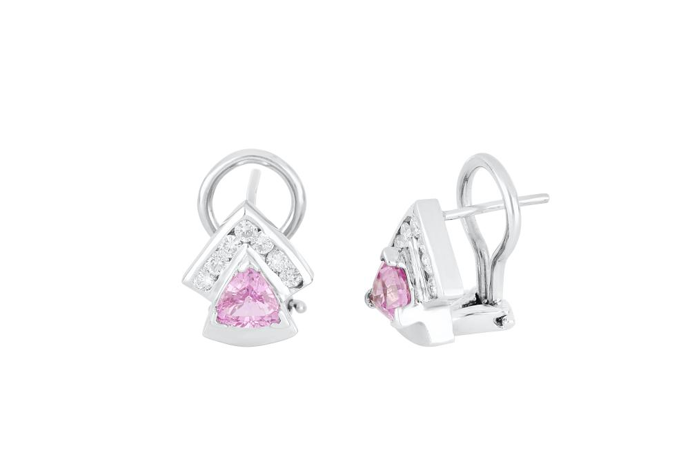 Pair of 18ct white gold pink sapphire & diamond earrings