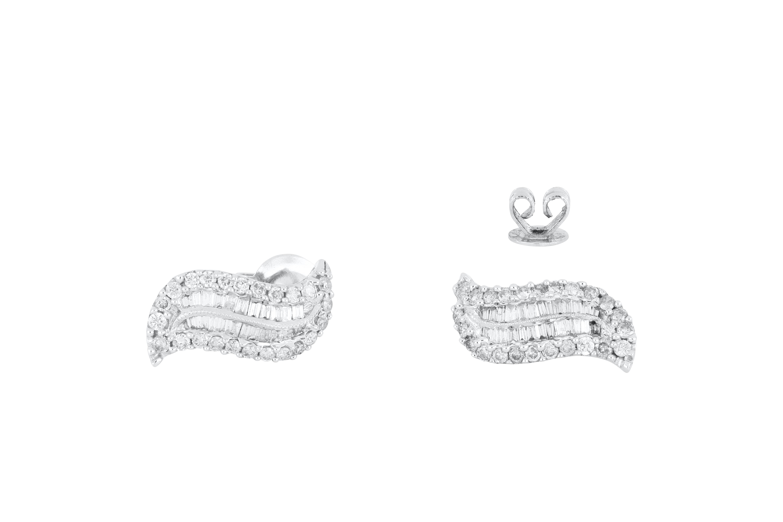 Pair of 18ct white gold diamond ear studs