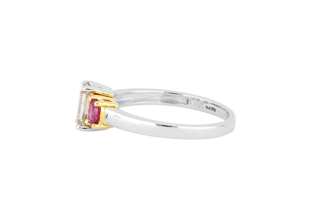 New 18ct white gold diamond & ruby ring