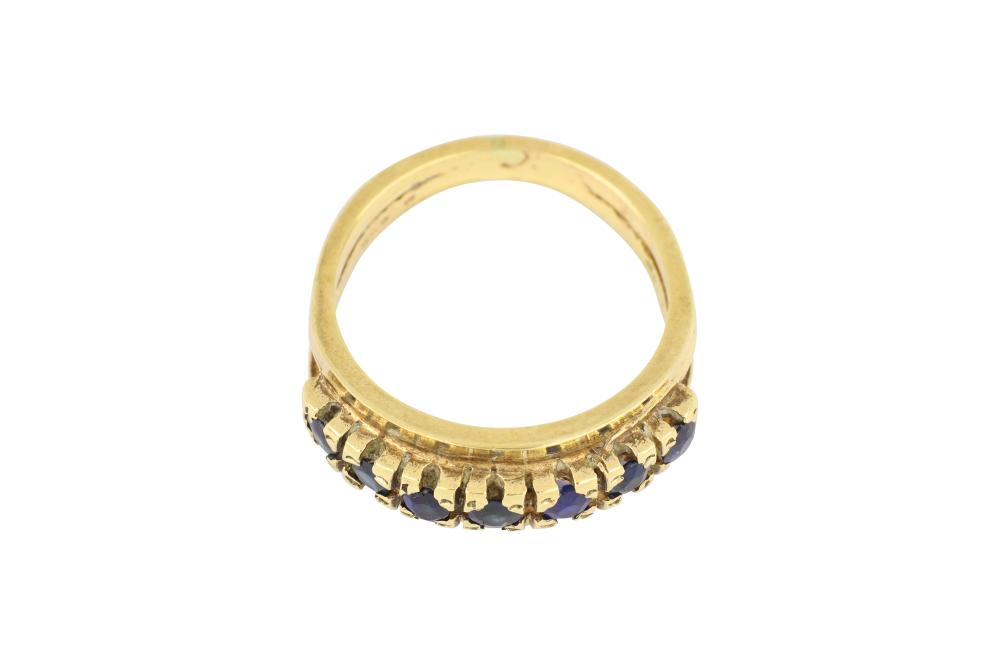 9ct gold 7 stone sapphire ring