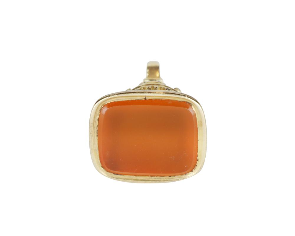 Gold plated carnelian seal pendant