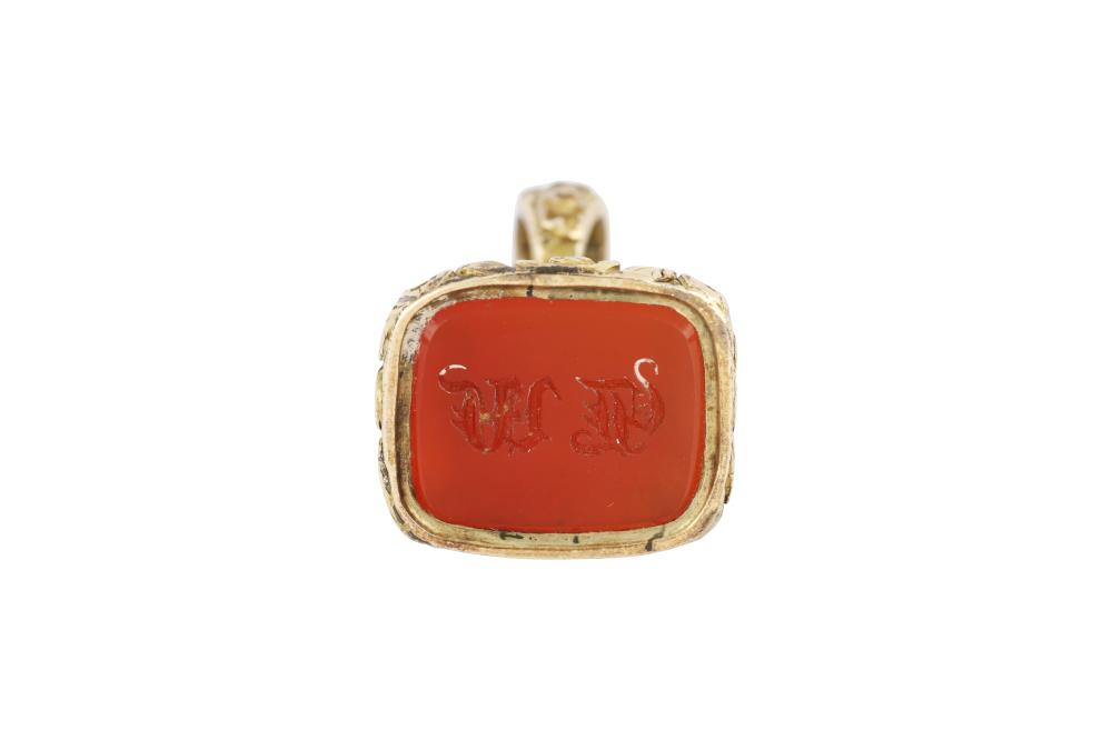 Gold plated seal pendant set with carnelian