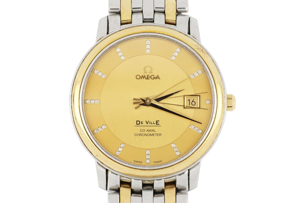 Two tone Omega DeVille watch with diamond markers