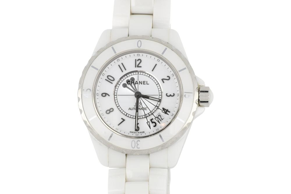 Ceramic white Chanel J12 automatic watch