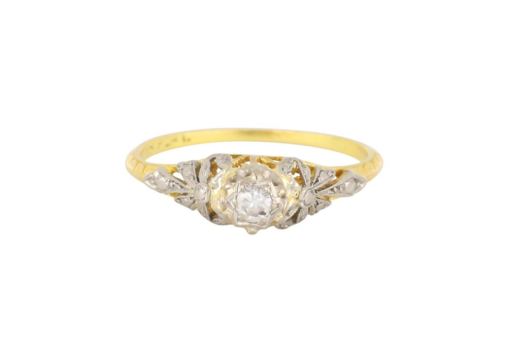 Antique 18ct gold diamond set engagement ring