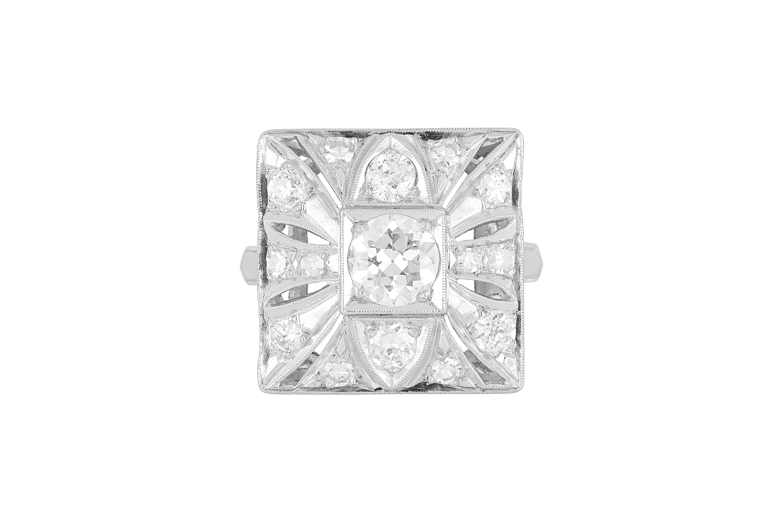 Art Deco platinum and diamond dress ring
