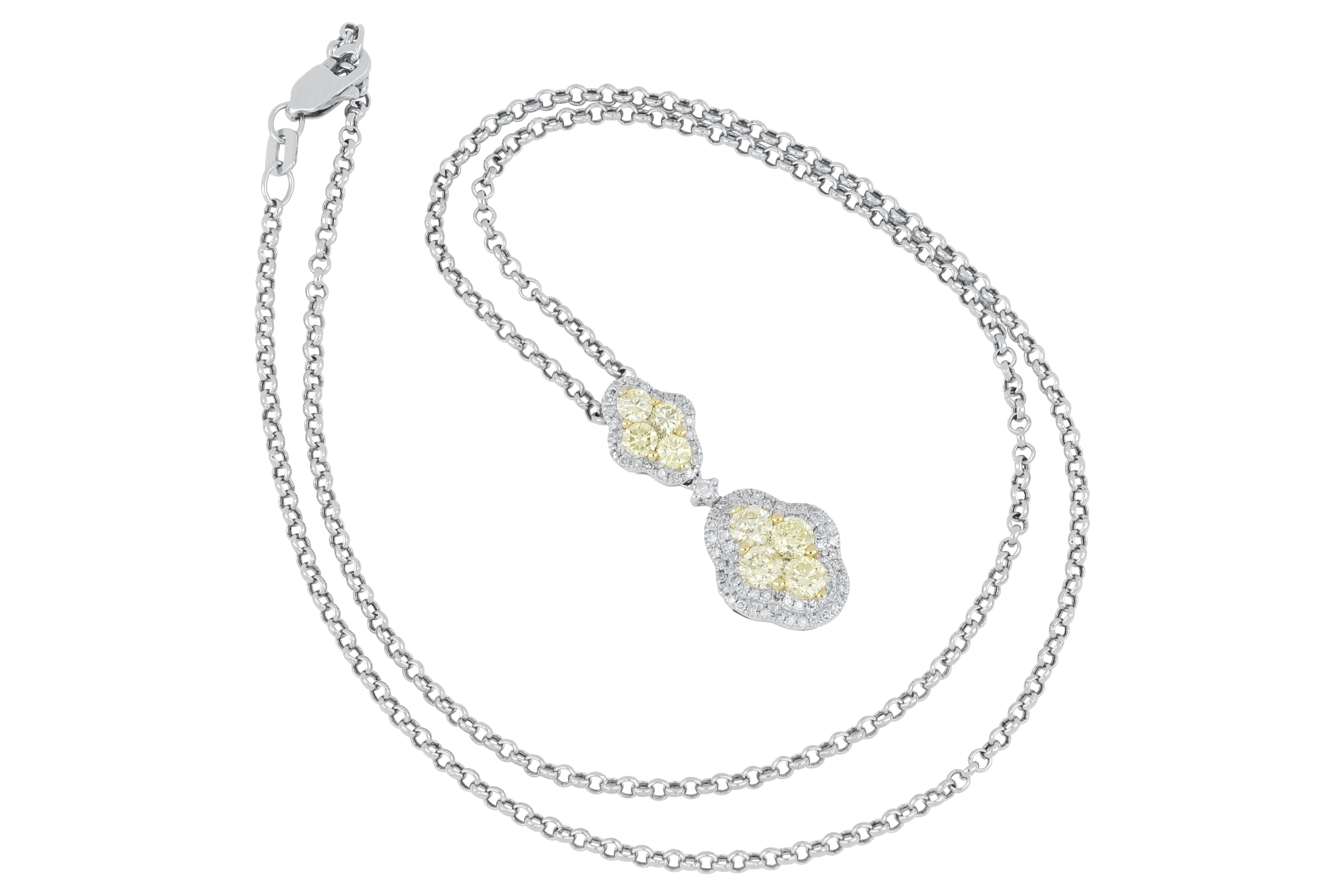 14ct white gold yellow & white diamond pendant on chain
