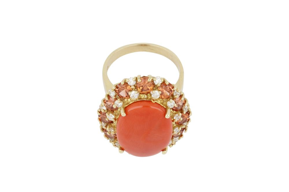 Large 14ct gold coral, garnet & diamond cluster ring