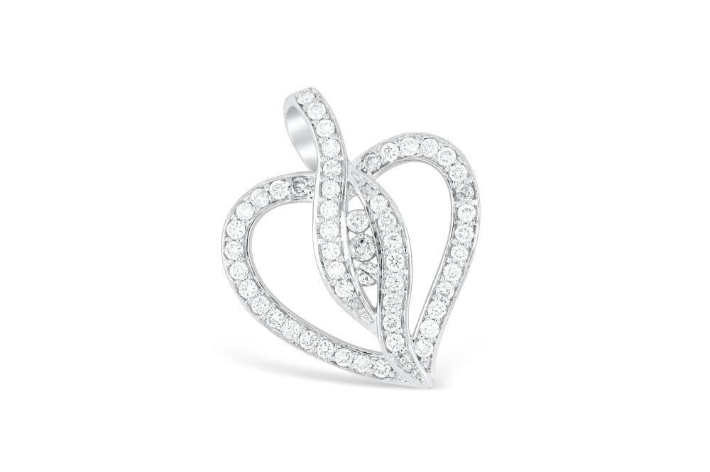 14k white gold heart shaped pendant set with diamonds