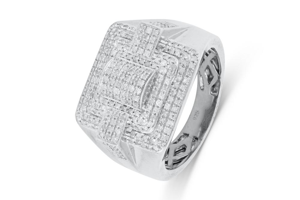 Large exotic sterling silver dress ring with pave set diamonds