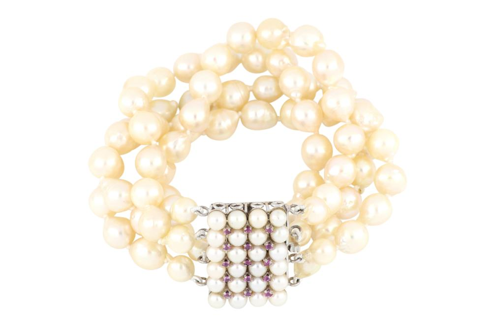 Vintage 14ct white gold Cultured Pearl and Ruby Bracelet, Length 20 cms
