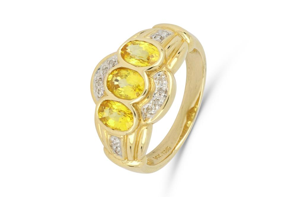 14ct gold dress ring set with 3 oval faceted 6 x 4 mm yellow sapphires and diamonds